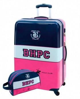 Beverly Hills Polo Club Tricolor Girl Maleta mediana Rosa + Neceser Regalo 0