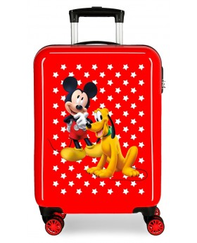 Mickey Maleta de cabina rígida Mickey & Pluto Stars 55cm roja | Maletia.com