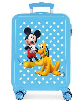 Mickey Maleta de cabina rígida Mickey & Pluto Stars 55cm azul | Maletia.com