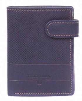 Billetero de piel Titto Bluni Cuadros Azul - 12cm | Maletia.com