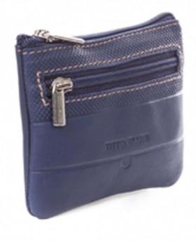 Monedero de piel Titto Bluni Cuadros Azul - 10cm | Maletia.com