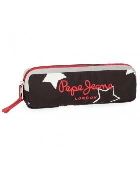 Estuche escolar Pepe Jeans Jessa Negro - 22cm | Maletia.com