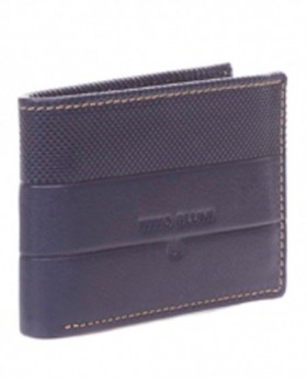 Monedero de cuero Titto Bluni Cuadros Azul - 10cm | Maletia.com