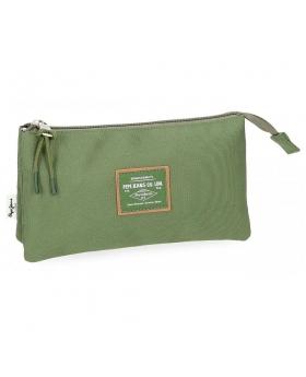 Estuche Pepe Jeans Cross 3C Verde - 22cm | Maletia.com