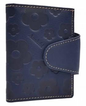 Tarjetero de piel Amichi Búfalo Azul - 10cm | Maletia.com