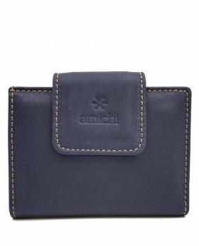Tarjetero de piel Amichi Floater Azul - 10cm | Maletia.com