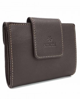 Monedero billetero de piel Amichi Floater Marrón - 11cm | Maletia.com