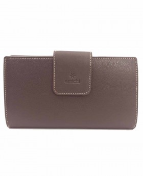 Cartera monedero de piel Amichi Floater Marrón - 20cm | Maletia.com