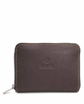 Monedero de piel Amichi Floater Marrón - 10cm | Maletia.com