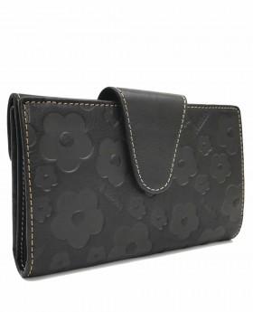 Monedero billetero de piel Amichi Búfalo Negro - 16cm   Maletia.com
