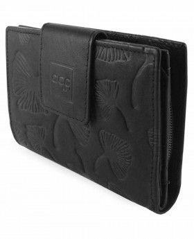 Monedero billetero de piel Acq Leaves Negro - 12cm | Maletia.com