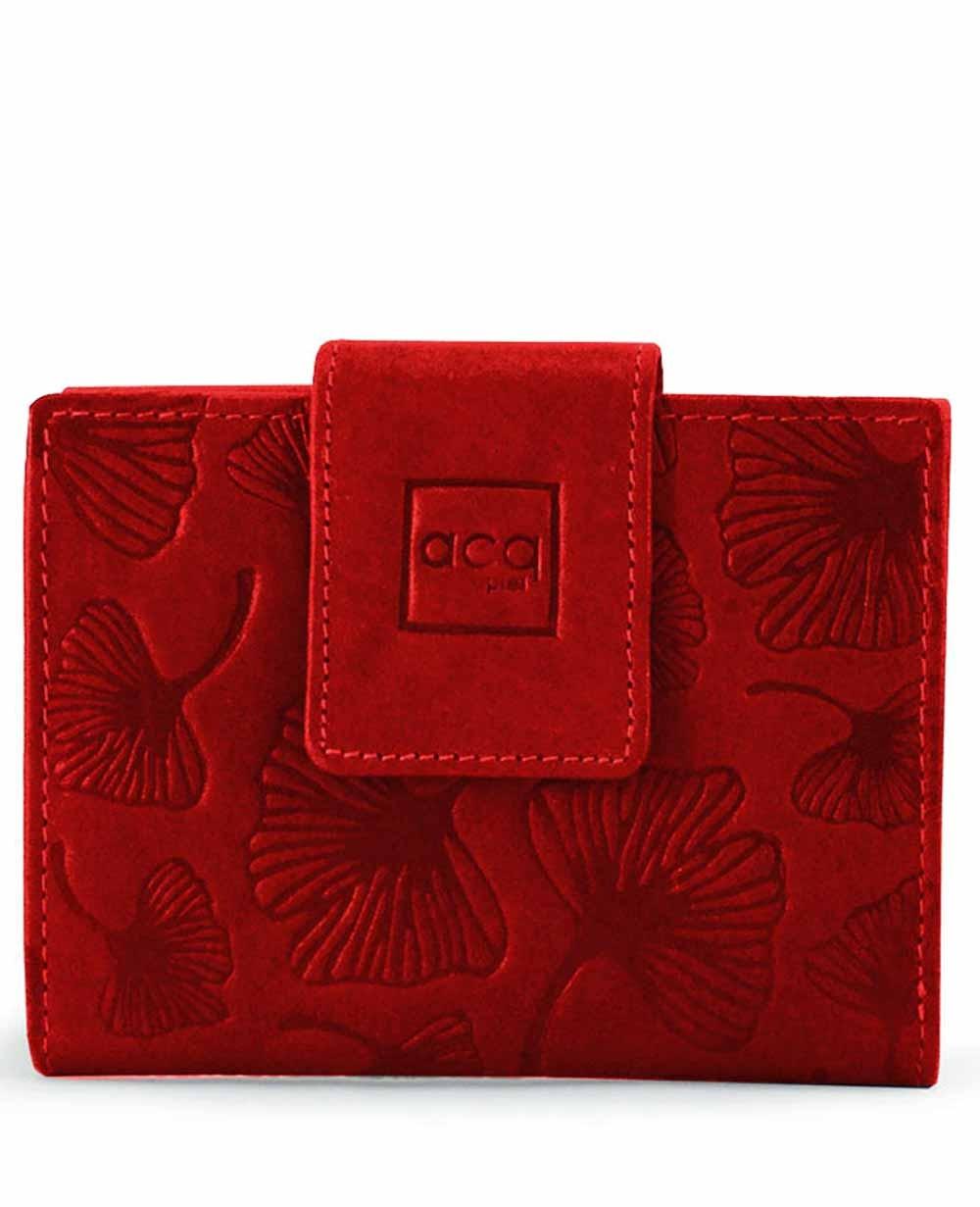 18d8e133a Monedero billetero de piel Acq Leaves Rojo - 12cm | Maletia.com