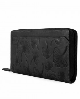 Monedero billetero de piel Acq Leaves Negro - 18cm | Maletia.com