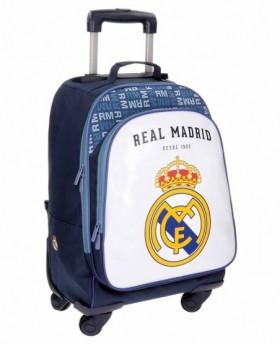 Real Madrid Champions Trolley convertible en mochila con ruedas Blanco 0