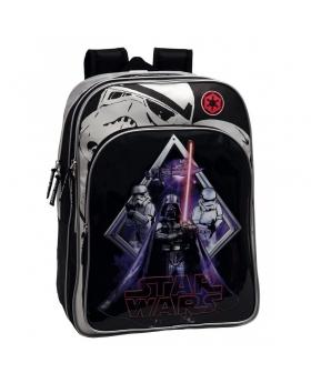 Star Wars Mochila Escolar Adaptable A Carro Darth Vader doble compartimento Negro - 1