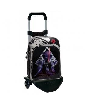 Star Wars Mochila Escolar Darth Vader doble compartimento con carro Negro - 1