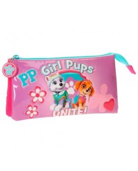 Patrulla Canina Estuche tres compartimentos La  Girls Pups Rosa - 1