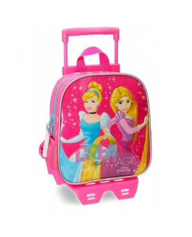 Princesas Mochila preescolar  Disney con carro Rosa - 1