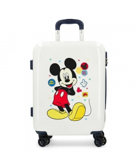 Mickey Mouse Maleta de cabina rígida Mickey Enjoy the Day Oh Boy Beige Blanco - 1