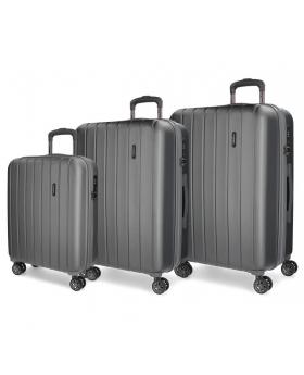 Movom Juego de maletas  Wood rígido 55-65- Antracita Gris - 1