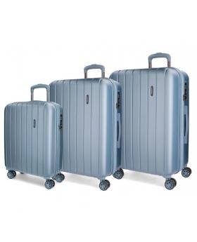 Movom Juego de maletas  Wood rígido 55-65- Plata Azul - 1