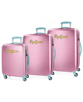 Pepe Jeans Juego de maletas  Bristol  rígidas 55-67-79cm Rosa - 1