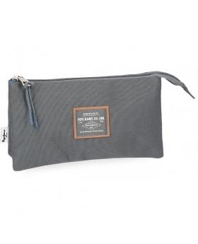 Estuche  Cross  tres compartimentos Pepe Jeans Gris 22cm | Maletia.com