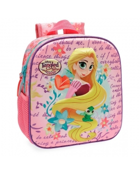 Princesas Mochila Preescolar Rapunzel  frontal 3D Multicolor - 1