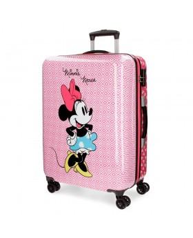 Maleta mediana Disney Minnie Rombos Rosa - 69cm | Maletia.com