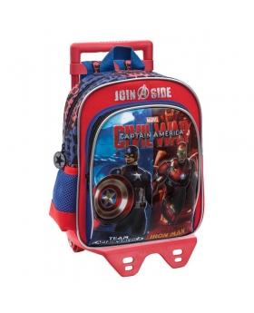 Marvel Mochila preescolar bolsillo frontal adaptable a trolley Civil War Bicolor Rojo - 1