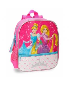 Mochila preescolar adaptable a carro Princesas  Disney Rosa 28cm | Maletia.com