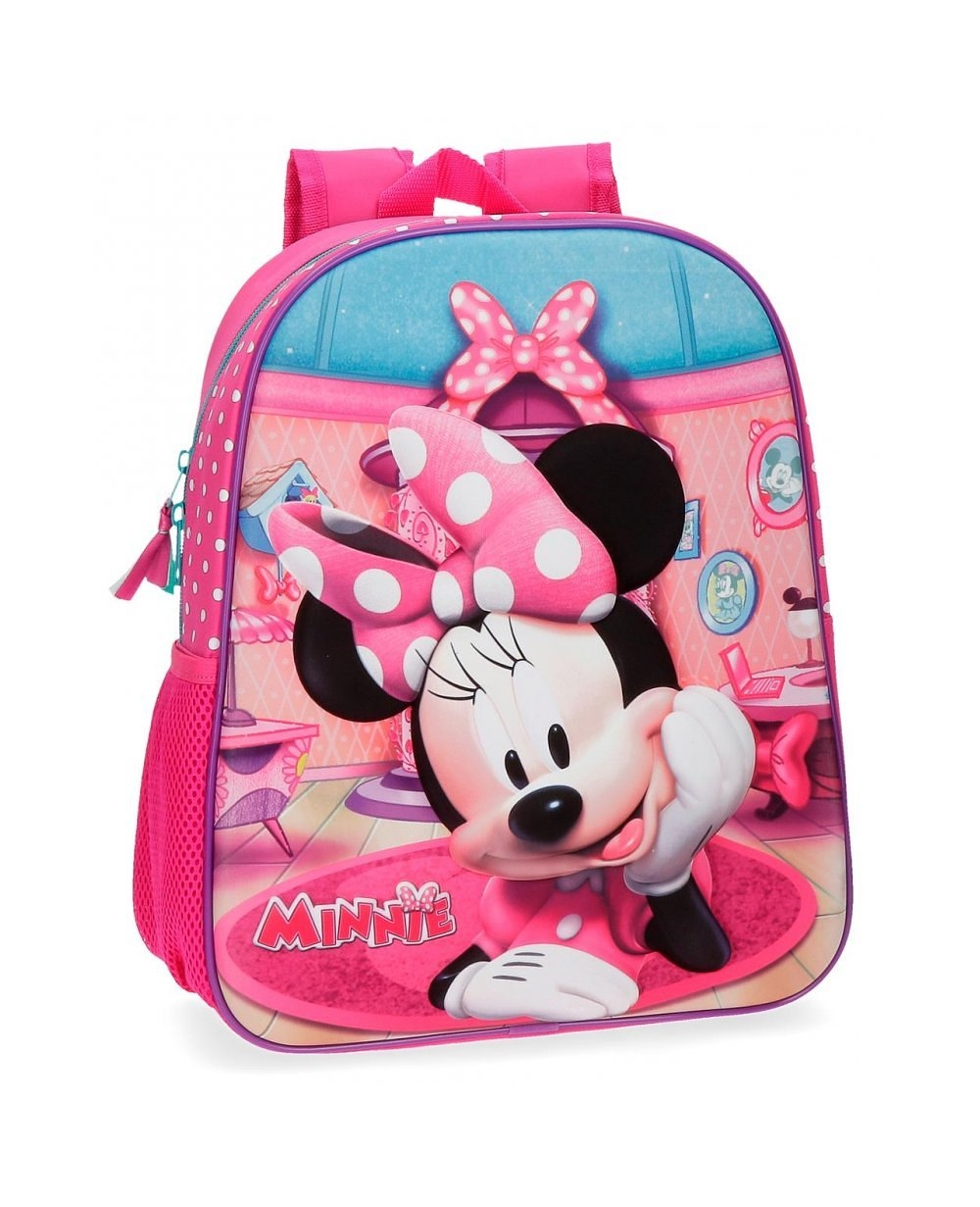 ddfe539b9 Mochila preescolar Minnie Smile frontal 3D Minnie Mouse Rosa 33cm ...
