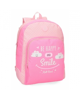 Mochila escolar  Happy   adaptable a carro Roll Road Rosa 44cm | Maletia.com