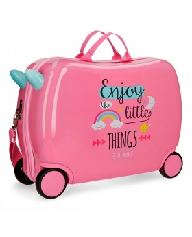 Maleta correpasillos  Little Things Roll Road Rosa 50cm | Maletia.com