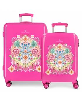 Catalina Estrada Juego de maletas  Abanico rígidas 55- fucsia Rosa - 1