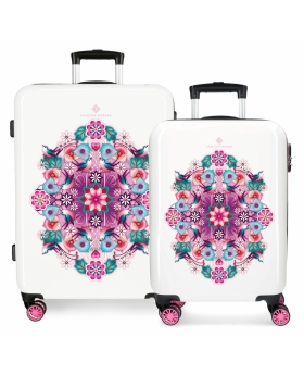 Catalina Estrada Juego de maletas  Abanico rígidas 55- rosa Rosa - 1