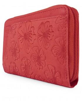 Billetero de piel con cremallera Acq Dahlia Rojo - 14cm | Maletia.com