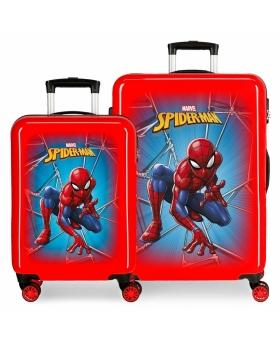 Spider-Man Juego de Maletas Spiderman Black rígidas 55-  Rojo - 1