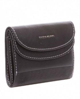 Monedero de piel Titto Bluni Elegant Negro - 10cm | Maletia.com