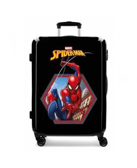 Spider-Man Maleta Mediana Spiderman Geo rígida  Negra Negro - 1