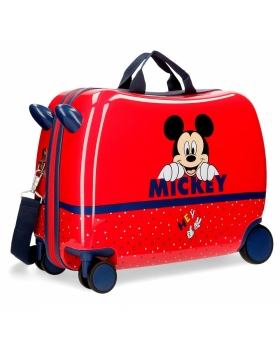 Mickey Mouse Maleta infantil Happy Mickey con ruedas multidireccionales Rojo - 1
