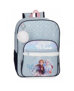 Frozen Mochila  con lentejuelas Trust your journey escolar 38cm Azul - 1