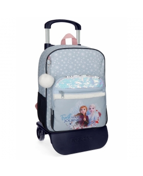 Frozen Mochila Trust your journey escolar 38cm con carro Azul - 1