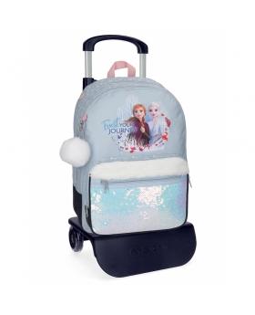Frozen Mochila Escolar Trust your journey  con carro Azul - 1
