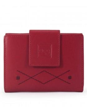 Billetero de piel con solapa Acq Chelsea Rojo - 12cm | Maletia.com